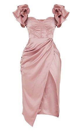 Pink Satin Frill Sleeve Corset Detail Midi Dress | PrettyLittleThing USA