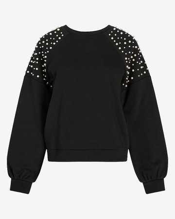 Pearl Embellished Sweatshirt | Express