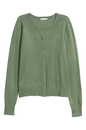 Fine-knit Cardigan - Light khaki green - Ladies   H&M US