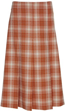 Pleated Plaid Wool Midi Skirt