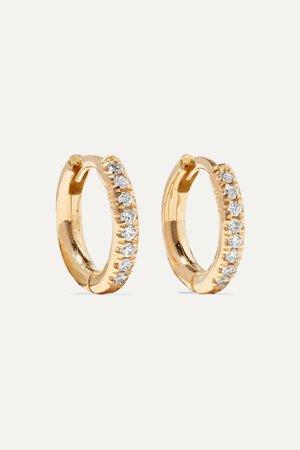 Gold 18-karat gold diamond hoop earrings | Ileana Makri | NET-A-PORTER