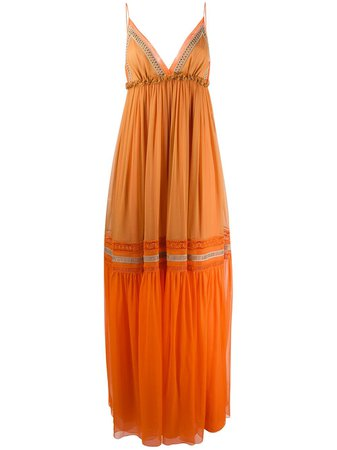 Alberta Ferretti Colour Block Tiered Silk Maxi Dress - Farfetch