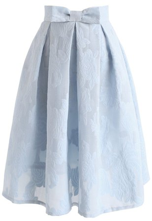 Rose Garden Bowknot Pleated Skirt in Blue - Skirt - BOTTOMS - Retro, Indie and Unique Fashion