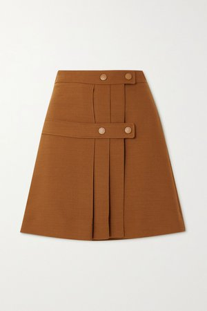 Camel Pleated twill wrap mini skirt   See By Chloé   NET-A-PORTER