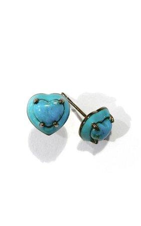 Nakard Small Heart Enameled Sterling Silver Turquoise Stud Earrings By Nak Armstrong | Moda Operandi