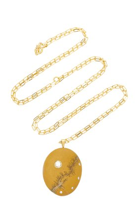 CVC Stones Elementare 18K Gold Beach Stone and Diamond Necklace