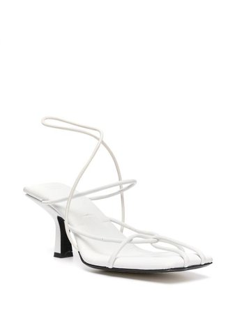Shop white Khaite low heel strappy sandals with Express Delivery - Farfetch