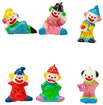 """Amazon.com: Clown Birthday Candles, Set of 6, Small, 1-3/4"""" Inches Tall, 1-1/4"""" Inches Wide, Baby Shower Cake Cupcake Decorations: Home & Kitchen"""