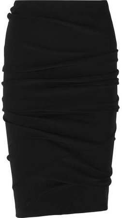 Ruched Stretch-jersey Skirt - Black