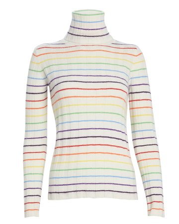 Sarge Rainbow Striped Cashmere Turtleneck