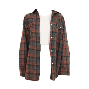 Plaid Shirt Top PNG