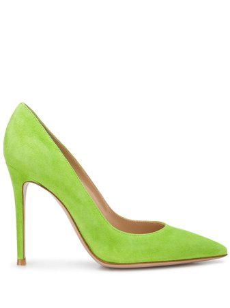 Gianvito Rossi Textured Pointed Toe Pumps G2847015RICCAM Green | Farfetch