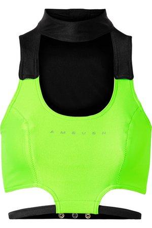 AMBUSH®   Cropped cutout two-tone stretch-jersey top   NET-A-PORTER.COM
