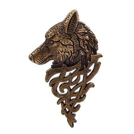 Bronze Wolf Head Brooch Pin