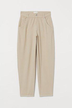 Ankle-length Twill Pants - Light beige - Ladies   H&M US