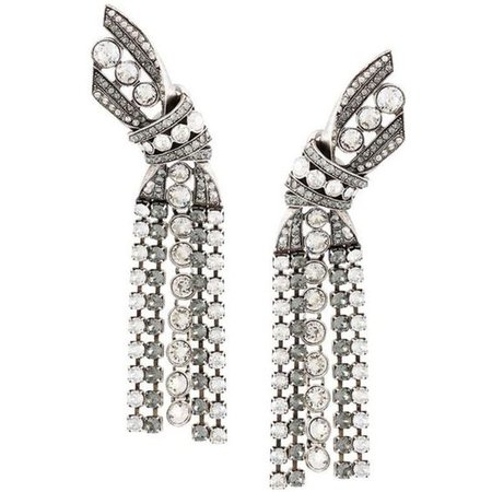 Lanvin crystal bow clip-on earrings