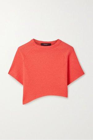Red Everest cropped asymmetric waffle-knit jersey T-shirt | TWENTY Montréal | NET-A-PORTER