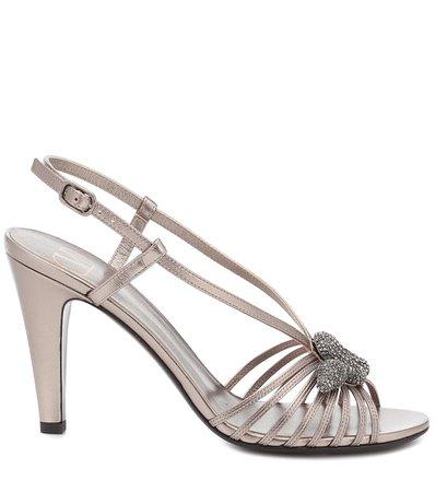 Valentino Garavani Metallic Leather Sandals | Valentino - Mytheresa