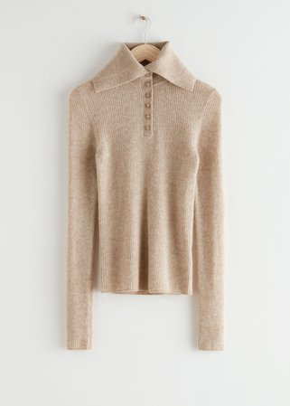 High Collar Knit Jumper - Beige - Sweaters - & Other Stories