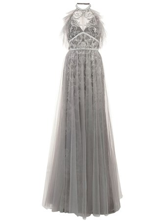 Marchesa Notte, tulle halterneck gown