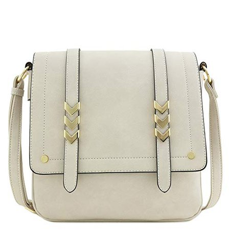 Amazon.com: Double Compartment Large Flapover Crossbody Bag (Dusty Ivory): Shoes