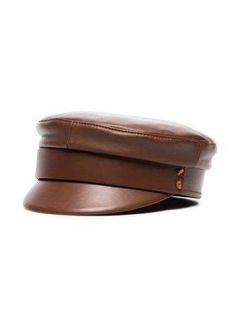 Ruslan Baginskiy brown leather baker boy hat