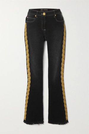 Frayed Embroidered Mid-rise Flared Jeans - Black