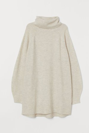 Long Turtleneck Sweater - Light beige - Ladies | H&M CA