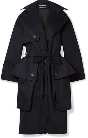 Le Manteau Bagli Belted Herringbone Cotton Trench Coat - Midnight blue
