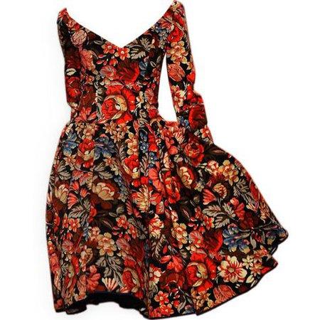 floral red black dress long sleeve