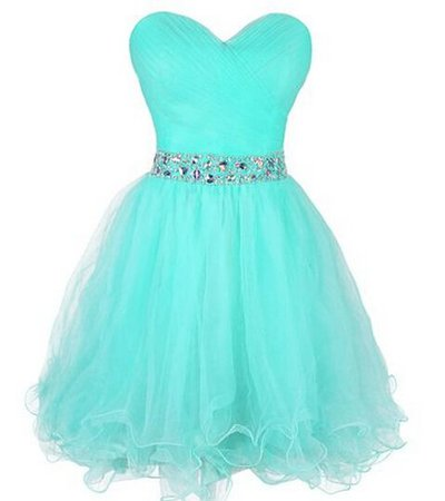 Blue prom dress heart neck line