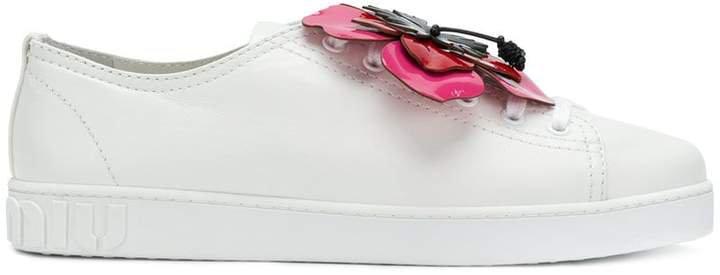 flower applique sneakers