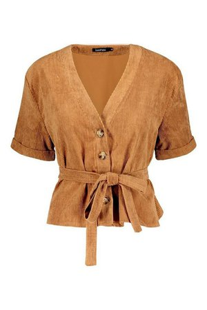 Button Down Belted Cord Shirt | Boohoo