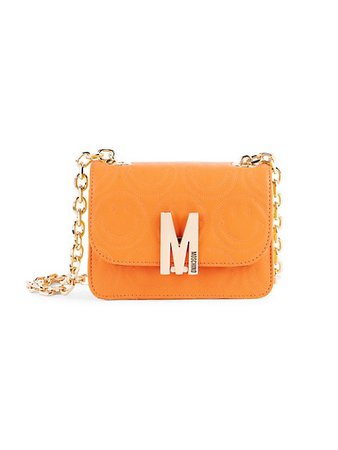 Moschino Smiley-Embossed Leather Crossbody Bag