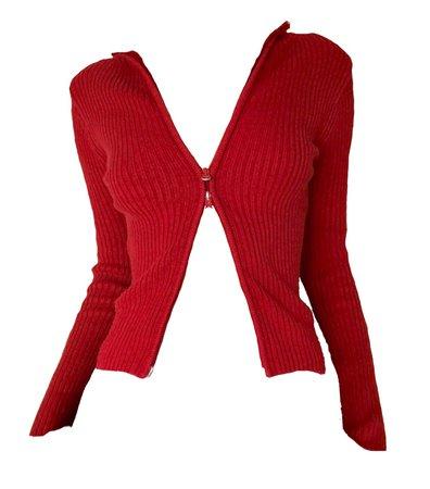 red zip top