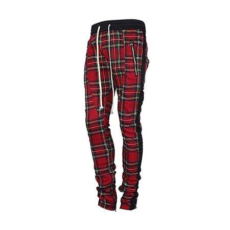 Amazon.com: HANGJIA Mens Ankle Strap Zipper Lattice Joggers Mesh Stretch Waist Scottish Plaid Sweatpants: Clothing