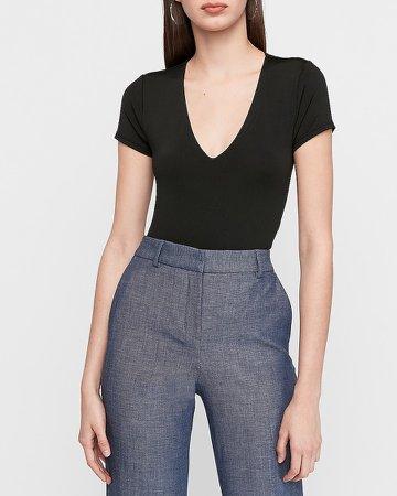 V-Neck Short Sleeve Thong Bodysuit