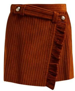 Ruffled Wrap Front Cotton Corduroy Mini Skirt - Womens - Brown