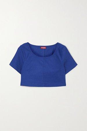 Navy Tango cropped linen-blend top | STAUD | NET-A-PORTER