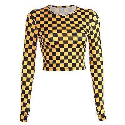 Black/Yellow Checkerboard Top – Own Saviour