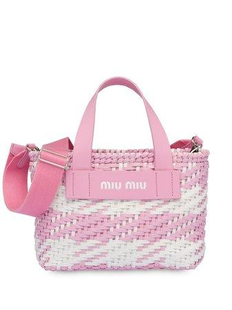 Miu Miu Woven Gingham Tote Bag - Farfetch