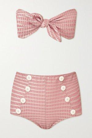 Poppy Knotted Seersucker Bikini - Baby pink