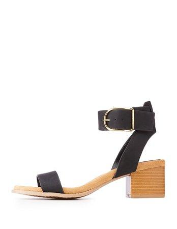 black chunky heel sandals
