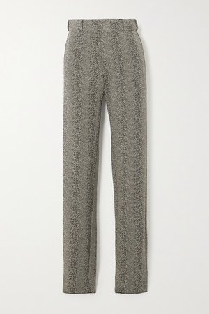 Herringbone Woven Straight-leg Pants - Black