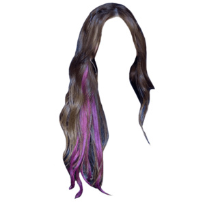 Black Brown Hair With Purple Streak PNG