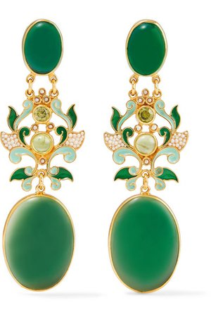 Percossi Papi   Gold-plated and enamel multi-stone earrings   NET-A-PORTER.COM