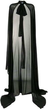 chiffon floor-length cape