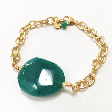 """Pentagon"" Jade Colored Adjustable Bracelet — Handmade gemstone jewelry 