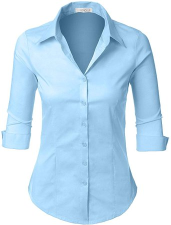Woman Roll Up Sleeve Button Down Shirt