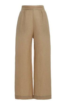 The Keaton Linen-Blend Wide-Leg Pants By Anemos   Moda Operandi